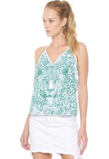Blusa Frente Única Triton Paetê Branca/Verde