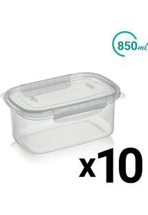 Conjunto Pote Plástico Microondas Freezer Trava Lateral 850Ml 10Un - Tricae