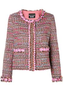 Boutique Moschino Jaqueta Floral De Tweed - Rosa