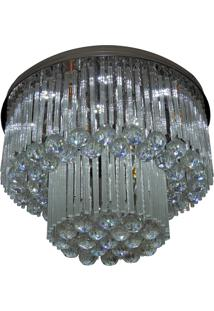 Lustre De Cristal Diamante 1503/500 Redondo 328W Bivolt Prata