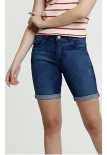 Bermuda Feminina Jeans Stretch Barra Dobrada Marisa