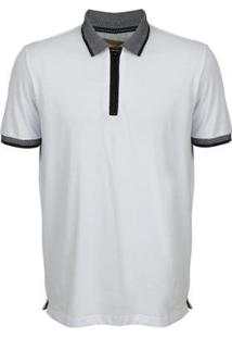 Camisa Polo Seeder Com Ziper Masculina - Masculino-Branco
