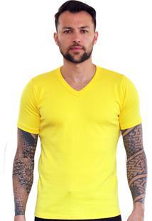 Camiseta Versatti Fram Manga Curta Gola Amarela