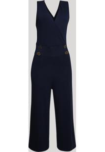Macacão Feminino Pantalona Transpassado Com Botões Azul Marinho