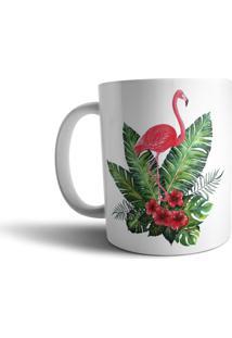 Caneca Live Chinelos Flamingos Branca