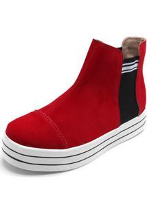 Bota Flatform Moleca Listras Vermelha