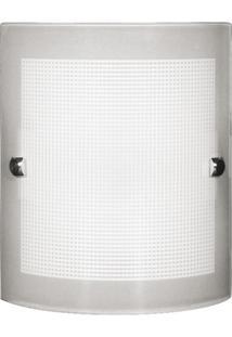 Arandela De Sobrepor Para 1 Lâmpada Calha Quadriculada 20X16Cm Branca