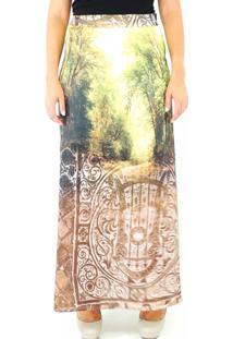 Saia Infinity Fashion Longa Natureza Amarela