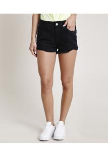 Short De Sarja Feminino Boy Destroyed Com Barra Desfiada Preto