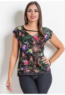 Blusa Preta E Floral Com Mangas Em Renda