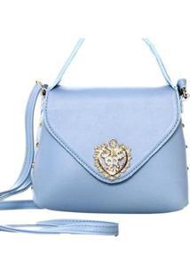 Bolsa Transversal Com 10905987 - Feminino-Azul