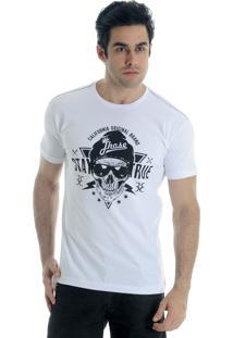 Camiseta Drope Jhose Eletric Skull Branca
