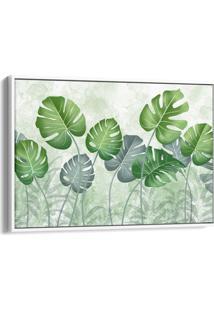 Quadro 60X90Cm Costela De Adão Folhas Verdes Canvas Moldura Flutuante Branca