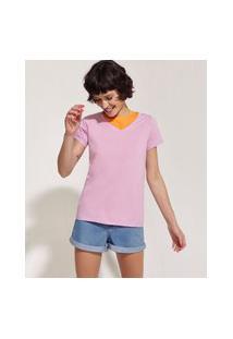 Blusa Feminina Básica Pantone Manga Curta Decote V Rosa Claro