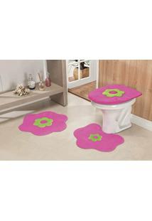 Jogo De Banheiro Guga Tapetes Formato Margarida 03 Peças Pink