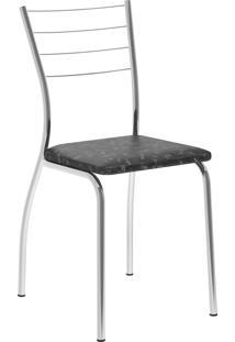 Kit 2 Cadeiras 1700 Tecil Fantasia Móveis Carraro Preto
