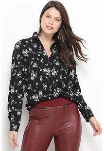 Camisa Social Facinelli Floral Feminina - Feminino-Preto