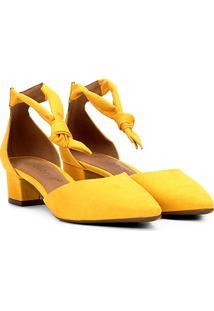 Scarpin Bebecê Amarração Feminino - Feminino-Amarelo