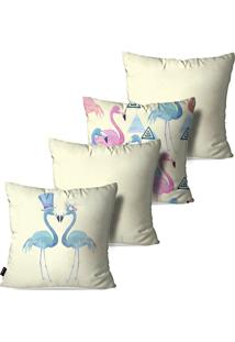 Kit Com 4 Capas Para Almofadas Pump Up Decorativas Off White Flamingos Love Geométrico 45X45Cm