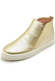 Bota Botinha Top Franca Shoes Hiate Word Ouro