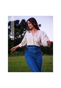 Amaro Feminino Clemence Blusa Decote Em V Nancy, Off-White