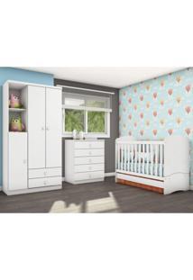 Quarto Infantil Com Guarda Roupa 3 Portas Cômoda E Berço Faz De Conta Siena Móveis Flex Color Branco/Branco/Rosa