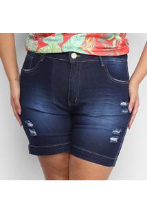 Shorts Jeans Xtra Charm Sarja Plus Size Com Cinta Modeladora Feminino - Feminino-Azul Escuro