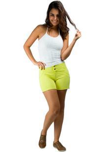 Bermuda Banna Hanna Com Recorte Montaria 2 Botoes Verde Escuro - Feminino-Amarelo