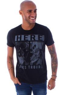 Camiseta Bossa Decote Canoa Here Preto - G