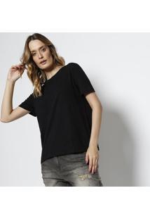 Camiseta Em Botonê - Preta & Azulcanal