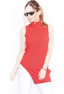 Blusa Cz Brand Assimétrica Canelada Vermelha