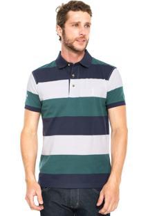 Camisa Polo Aleatory Faixas Azul/Branca/Verde