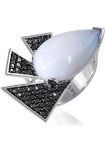 Anel Nice Noir Ob Opala E Diamantes Black