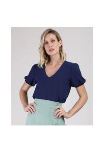 Blusa Feminina Ampla Manga Bufante Decote V Azul Marinho