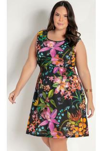 Vestido Curto Floral Com Franzido Plus Size