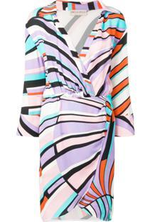 Emilio Pucci Vestido Estampado Com Cinto - Roxo