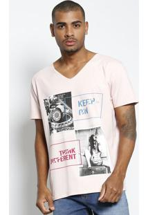 "Camiseta ""Keep On...""- Rosa Claro & Branca- Tritontriton"