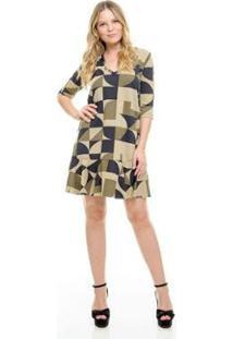 Vestido Aura Suplex Geométrico Feminino - Feminino-Verde