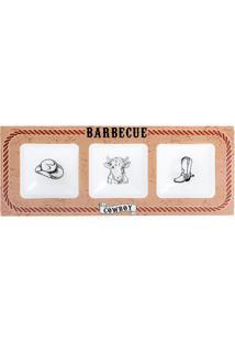 """Petisqueira Retangular """"Barbecue""""- Marrom & Branca- Decor Glass"""