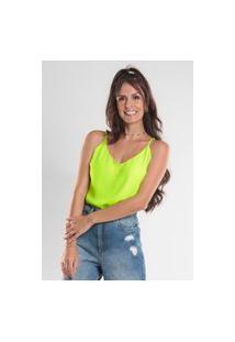 Blusa Bl0010 Crepe Com Alca Fina Traymon Amarelo Neon