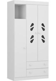 Roupeiro 3 Portas E 2 Gavetas - New Sorvete Seco - Branco - Multimóveis