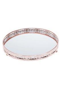 Bandeja Redonda Bronze Ferro Com Espelho - Cajamar/Rojemac