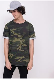 Camiseta Camuflada Com Manga Dobrada