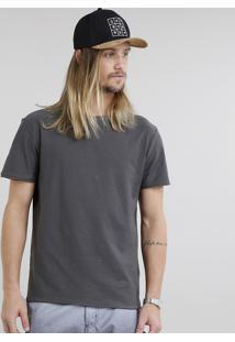 Camiseta Masculina Básica Flamê Manga Curta Gola Careca Chumbo
