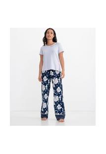 Pijama Manga Curta Estampa Floral Com Lettering   Lov   Multicores   M