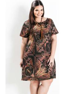 610711842 ... Vestido Evasê Manga Curta Abstrato Plus Size