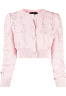 Boutique Moschino Cardigan Com Botões E Detalhe De Recorte Vazado - Rosa