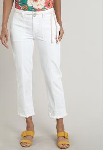 Calça De Sarja Feminina Skinny Barra Desfiada Com Recortes E Cinto Off White