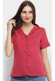 Camisa Adooro! Manga Curta Lisa Feminina - Feminino-Rosa Escuro
