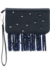 Giorgio Armani Clutch Com Aplicação - Azul